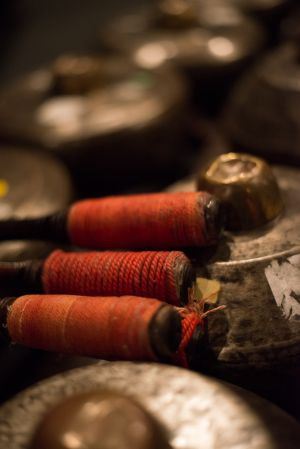 Bonangs from the Open Arts Gamelan